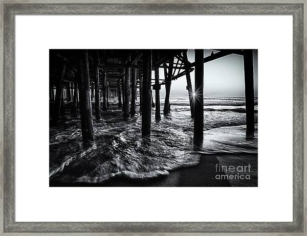 Sunset Under The Santa Monica Pier Framed Print