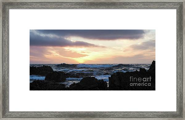 Sunset Waves, Asilomar Beach, Pacific Grove, California #30431 Framed Print