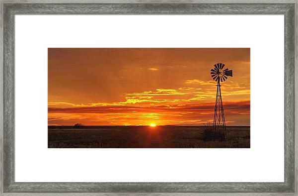 Sunset Windmill 02 Framed Print