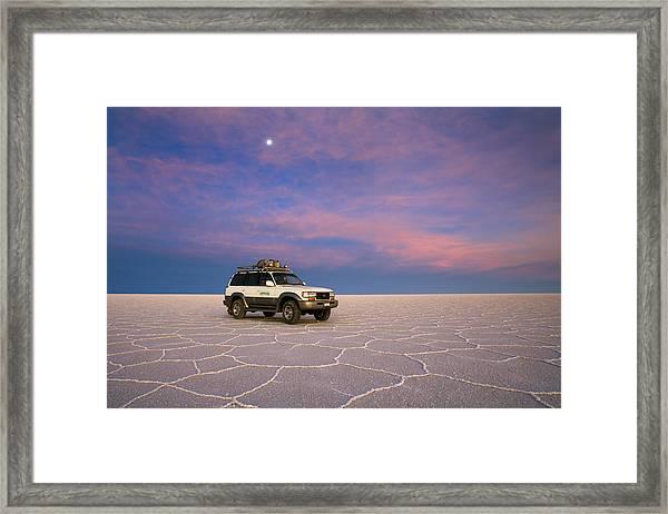 Lake Uyuni Sunset With Car Framed Print