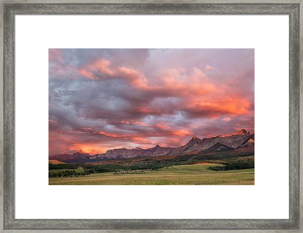 Sunset With Rain Clouds Framed Print