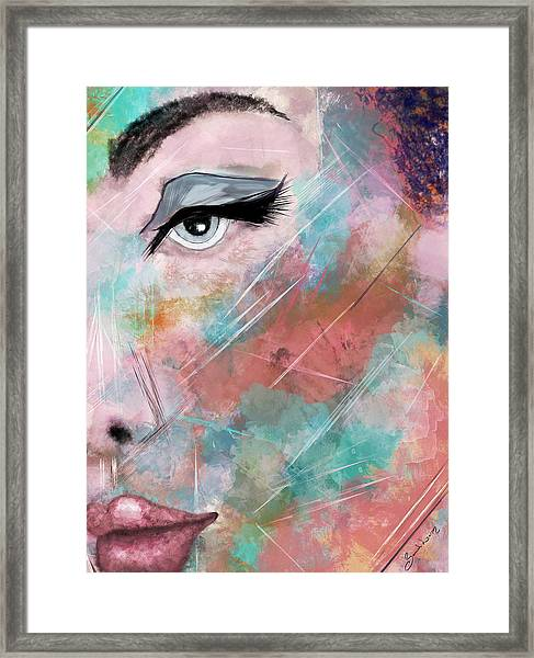 Sunset - Woman Abstract Art Framed Print