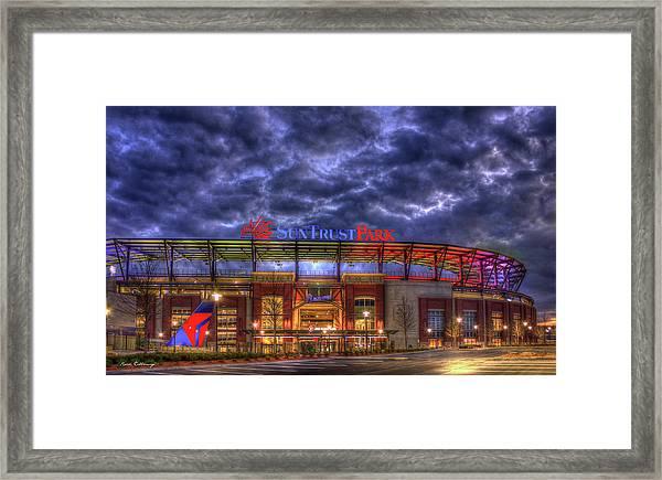 Suntrust Park Unfinished Atlanta Braves Baseball Art Framed Print