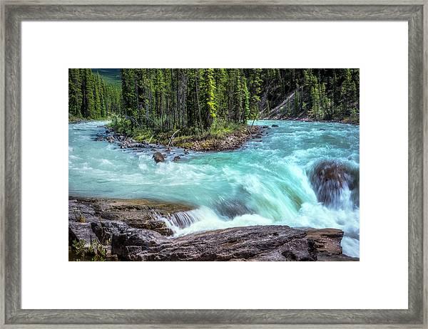 Framed Print featuring the photograph Sunwapta Falls by Claudia Abbott