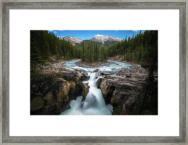 Sunwapta Falls In Jasper National Park Framed Print