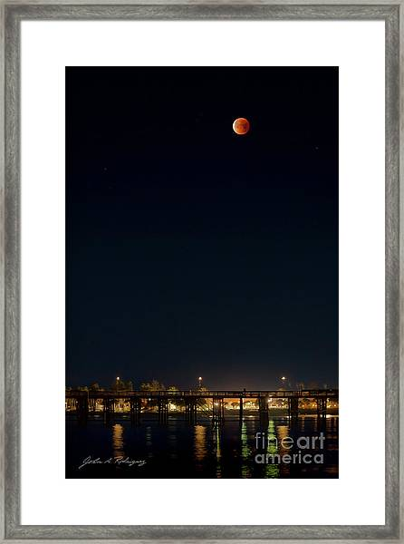 Super Blood Moon Over Ventura, California Pier Framed Print