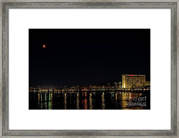 Super Blue Blood Moon Over Ventura, California Pier  Framed Print
