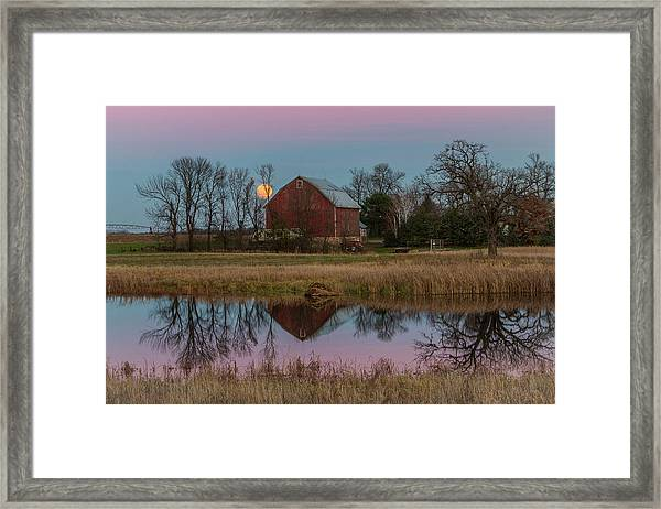 Super Moon And Barn Series #1 Framed Print