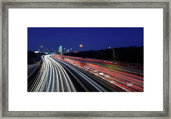 Super Moon And Dallas Texas Skyline Framed Print