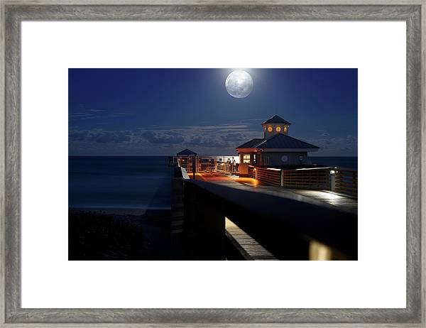 Super Moon At Juno Pier Framed Print