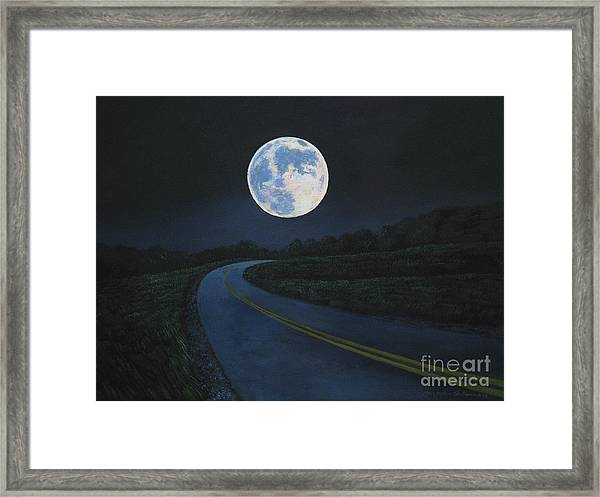 Super Moon At The End Of The Road Framed Print