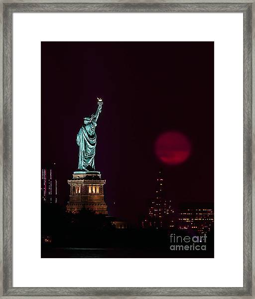 Super Moon Rising And The Statue Of Liberty Framed Print