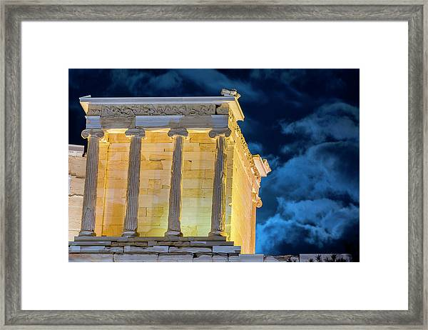 Framed Print featuring the photograph Supermoon In Acropolis by Nikos Stavrakas