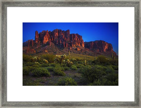 Superstition Mountain Sunset Framed Print