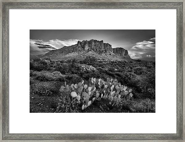 Superstition Mountains In Black And White Framed Print