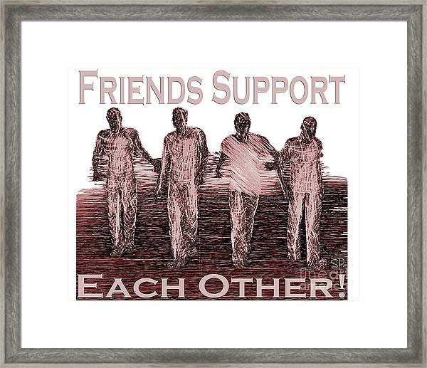 Support Friends In Bronze Framed Print