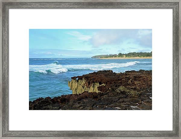 Surf At Mahaulepu Beach Hawaii Framed Print