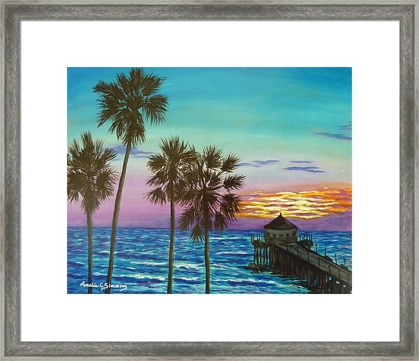 Surf City Sunset Framed Print