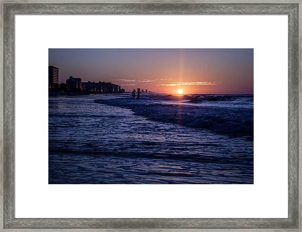 Surf Fishing At Sunrise Framed Print