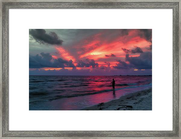 Surf Fishing At Sunset Framed Print