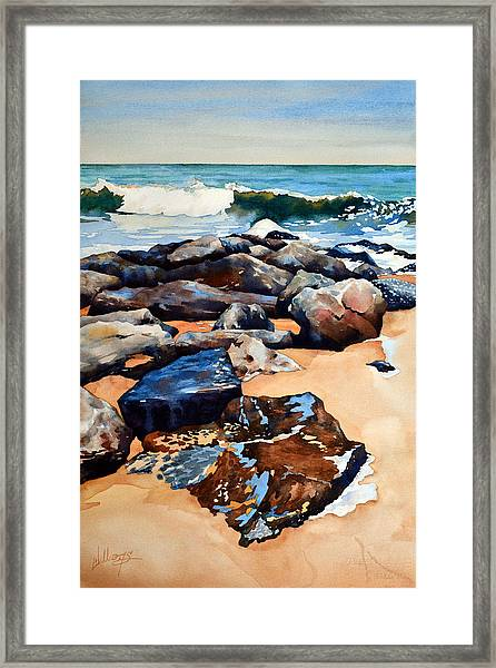 Surf On The Jetty Framed Print