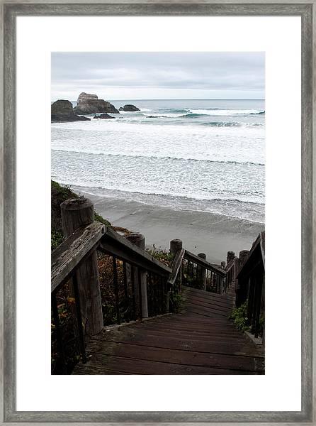 Framed Print featuring the photograph Surf Stairway by Lorraine Devon Wilke