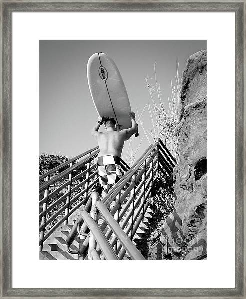 Surfer Ascending Stairs, San Diego, California  -74698-bw Framed Print