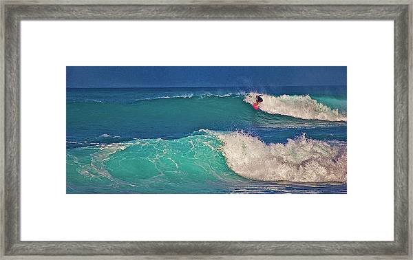Surfer At Aneaho'omalu Bay Framed Print
