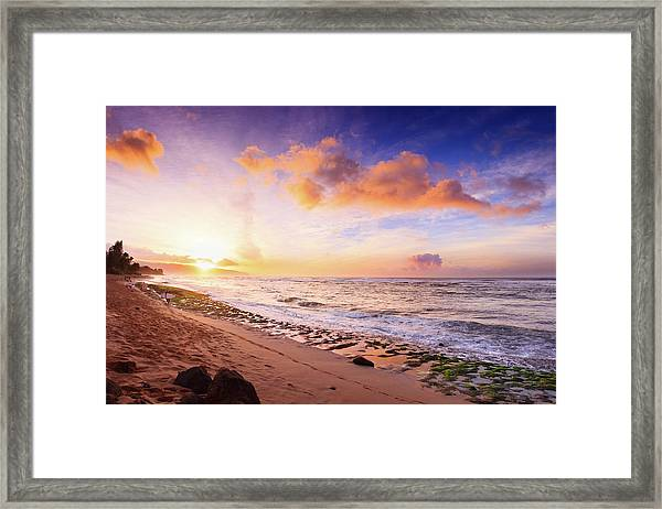 Surfer At Sunset Framed Print