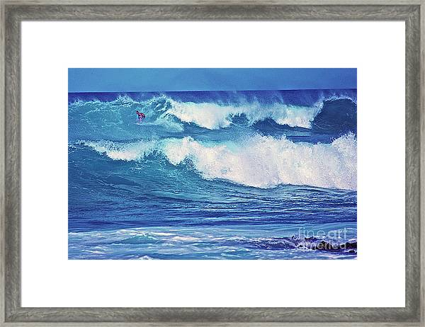Surfer Catching A Wave Framed Print