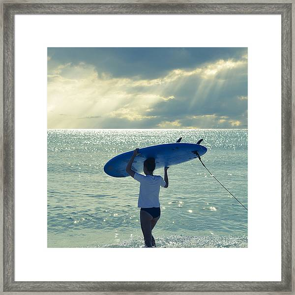 Surfer Girl Square Framed Print
