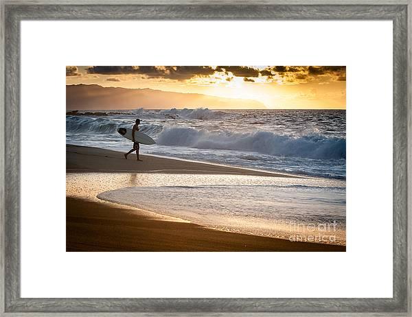 Surfer On Beach Framed Print