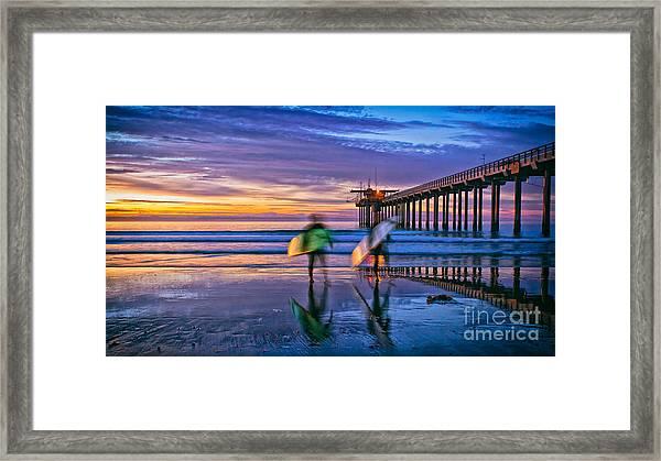Surfers At Scripps Pier In La Jolla California Framed Print