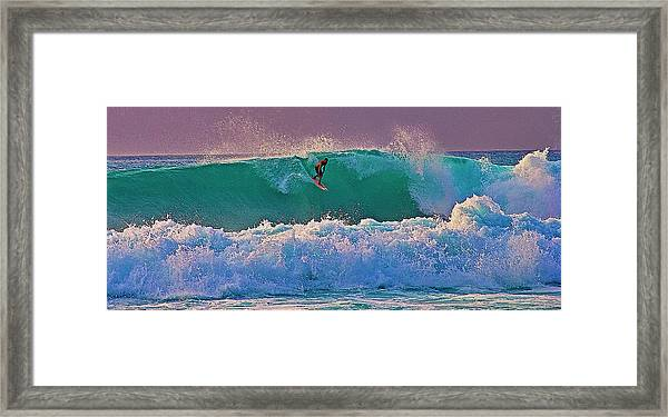 Surfing A-bay At Sunset Framed Print