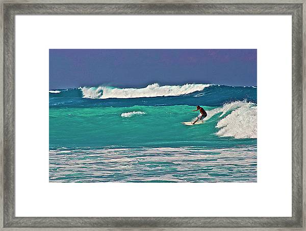 Surfing At Anaeho'omalu Bay 2 Framed Print