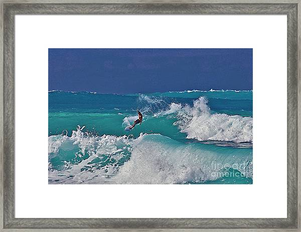 Surfing At Anaeho'omalu Bay Framed Print