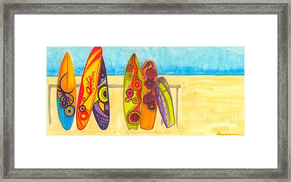 Surfing Buddies - Surf Boards At The Beach Illustration Framed Print