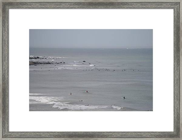 Surfing Ditch Plains Montauk Framed Print