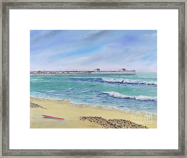 Surfing In San Clemente Framed Print
