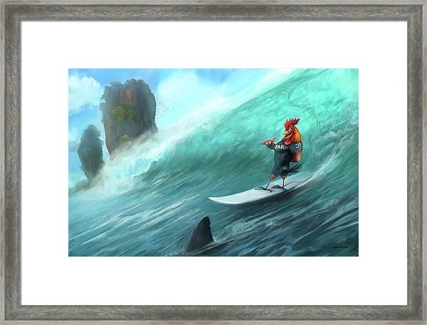Surfing Rooster Framed Print