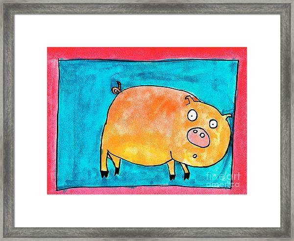 Surprised Pig Framed Print