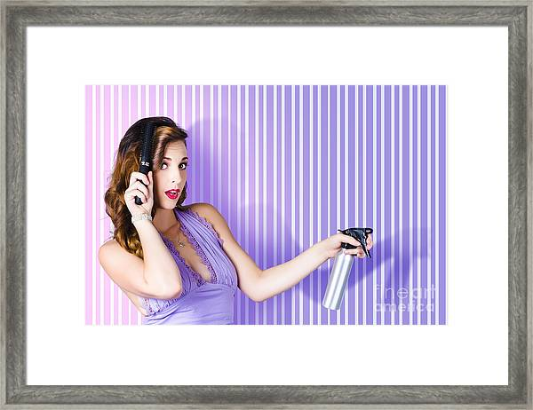 Surprised Pinup Woman With Beauty Salon Hair Style Framed Print