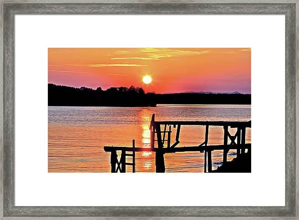 Surreal Smith Mountain Lake Dock Sunset Framed Print