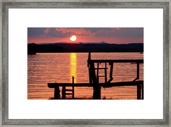 Surreal Smith Mountain Lake Dockside Sunset 2 Framed Print