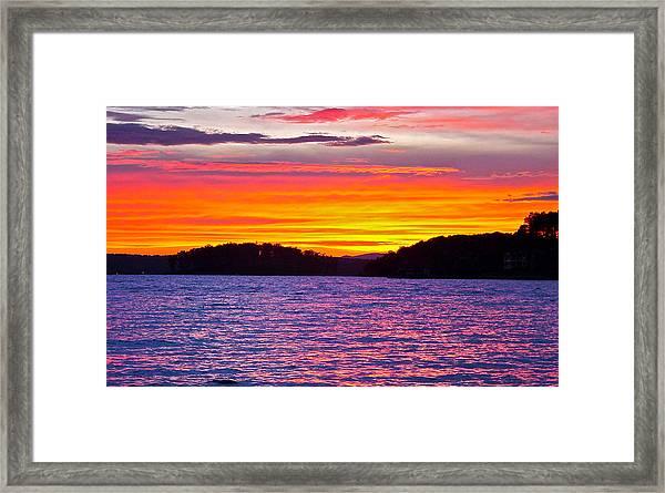 Surreal Smith Mountain Lake Sunset 2 Framed Print