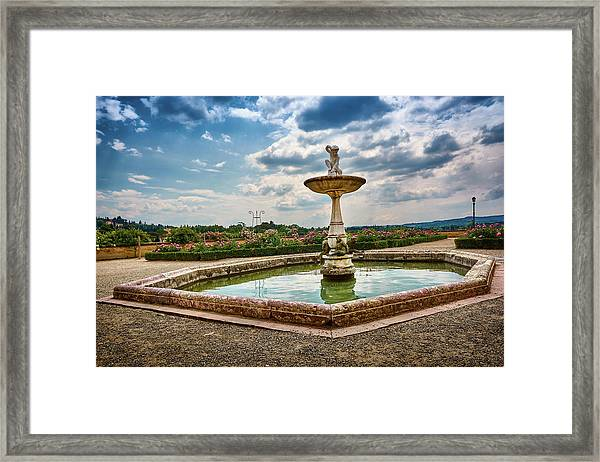 The Monkeys Fountain At The Gardens Of The Knight In Florence, Italy Framed Print
