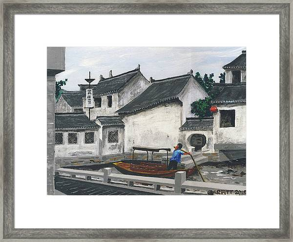 Suzhou Boatman Framed Print