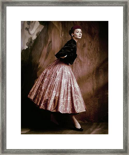 Suzy Parker In Givenchy Full Skirt Framed Print by John Rawlings