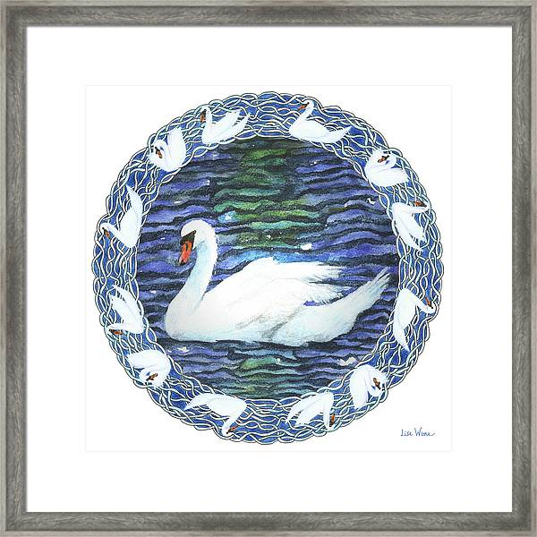 Swan With Knotted Border Framed Print