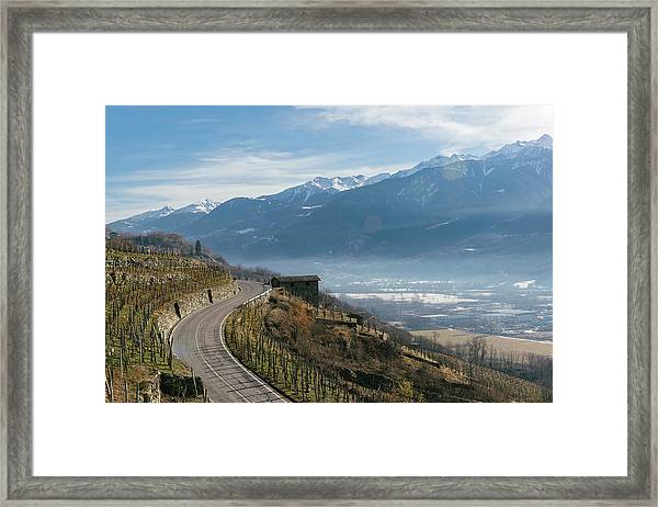 Swerving Road In Valtellina, Italy Framed Print